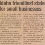 CDA Press Idaho Friendliest State for Small Business